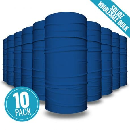 image of 10 tubular bandanas with a note that this is a 10 pack of blue bandanas