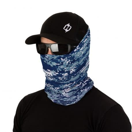 Image of a male model in a hat, sunglasses and blue patterned face mask