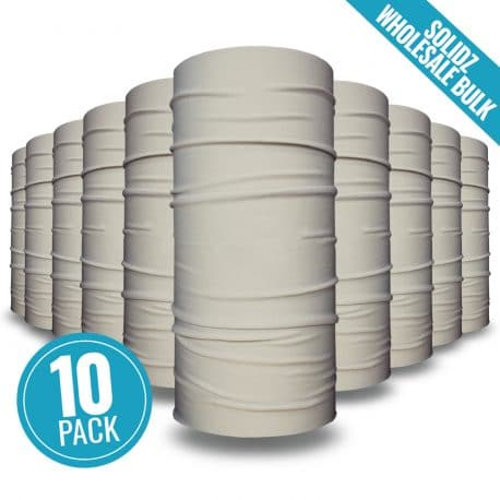 image of 10 tubular bandanas with a note that this is a 10 pack of beige bandanas