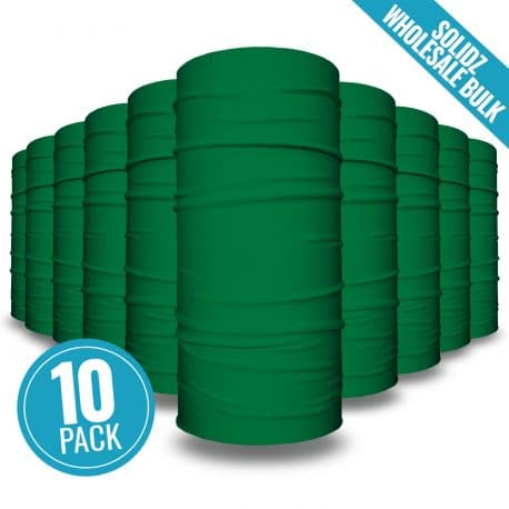 image of 10 tubular bandanas with a note that this is a 10 pack of green bandanas