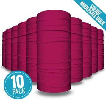 image of 10 tubular bandanas with a note that this is a 10 pack of plum colored bandanas