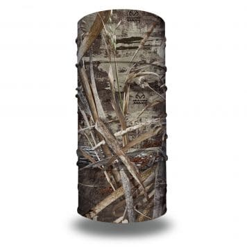 image of a tubular bandana with branches, twigs and other items layered to create a waterfowl camo
