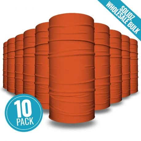 image of 10 tubular bandanas with a note that this is a 10 pack of orange bandanas