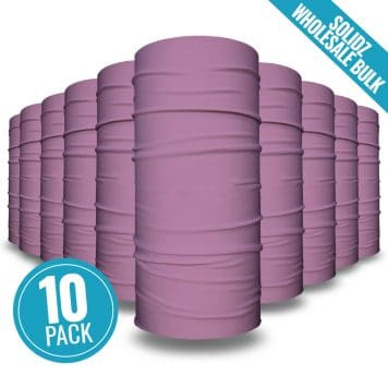 image of 10 tubular bandanas with a note that this is a 10 pack of purple bandanas