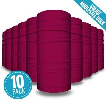 image of 10 tubular bandanas with a note that this is a 10 pack of wine colored bandanas