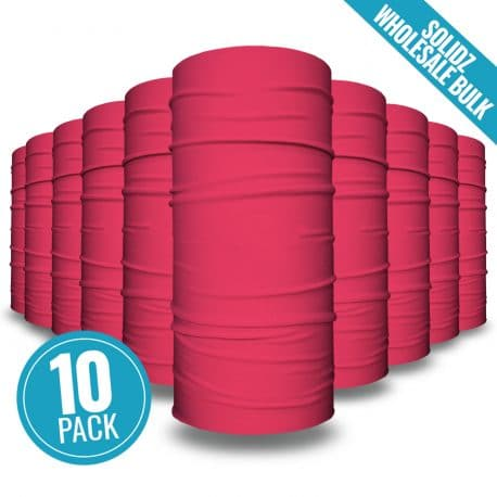 image of 10 tubular bandanas with a note that this is a 10 pack of pink bandanas