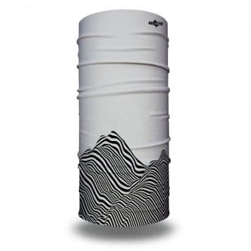 image of tubular bandana on gray background with black lines creating optical illusion of a mountain
