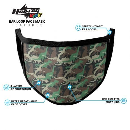 image of an ear loop face mask with dinosaur shapes in different colors. Black trim. List of product features