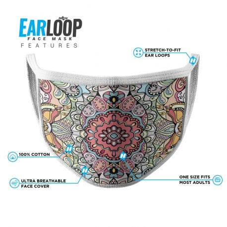 image of an ear loop face mask with a mandala design in pastel shades. List of product features
