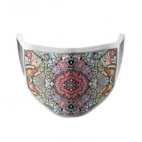 image of an ear loop face mask with a mandala design in pastel shades.