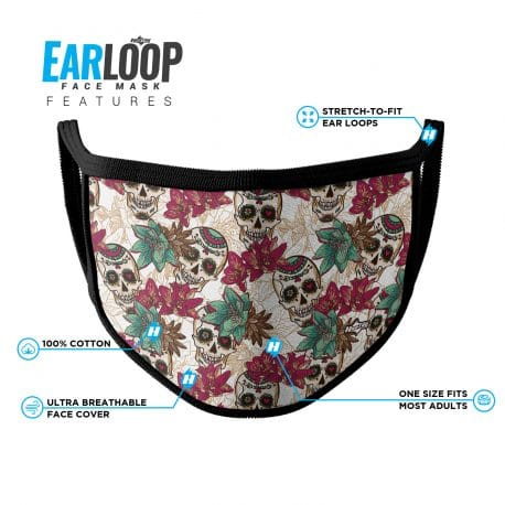 image of an ear loop face mask in day of the dead skulls and magenta flowers with black trim and list of product features