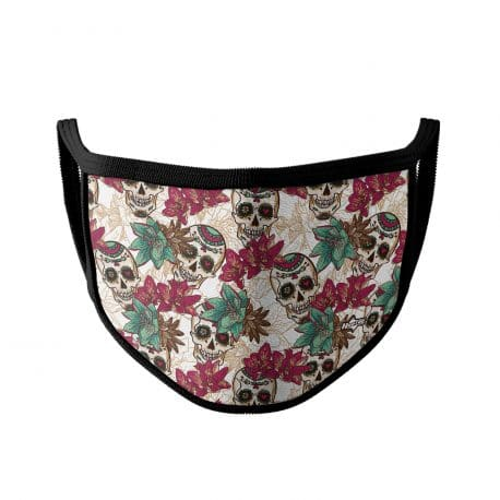 image of an ear loop face mask in day of the dead skulls and magenta flowers with black trim