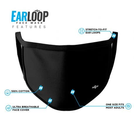 image of an ear loop face mask in solid black with black trim and list of product features