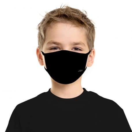 ELKS011 Solid Black Kids Ear Loop Mask by Hoo-rag