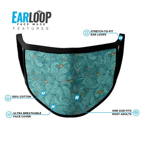 image of an ear loop face mask in teal swirls and orange accents with black trim and list of product features