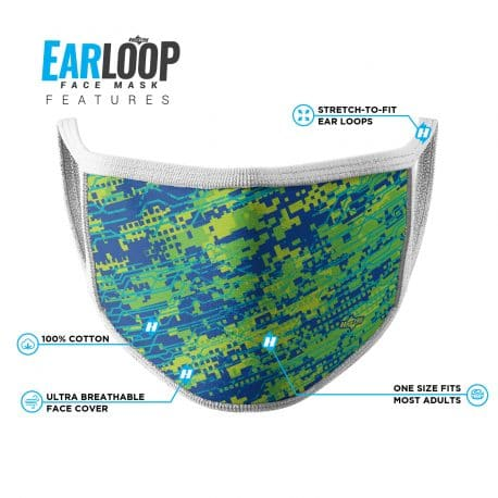 image of an ear loop face mask with a digital camo design in blue, yellow and green colors with list of product features