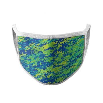 image of an ear loop face mask with a digital camo design in blue, yellow and green colors