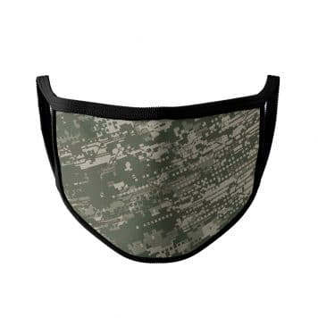 image of an ear loop face mask with a digital camo design in army green colors