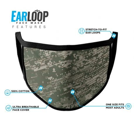 image of an ear loop face mask with a digital camo design in army green colors with list of product features