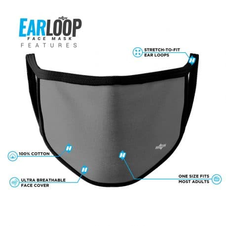 image of an ear loop face mask in solid gray with black trim and list of product features