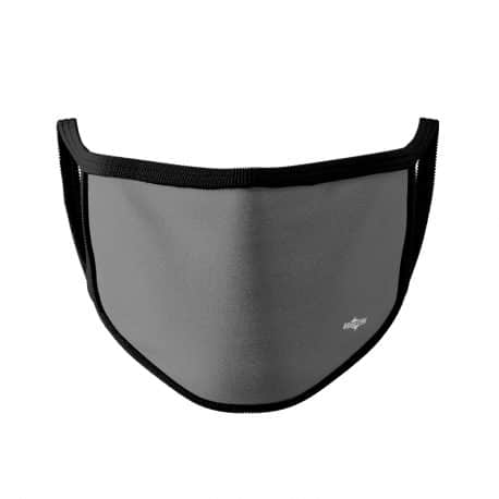 image of an ear loop face mask in solid gray with black trim