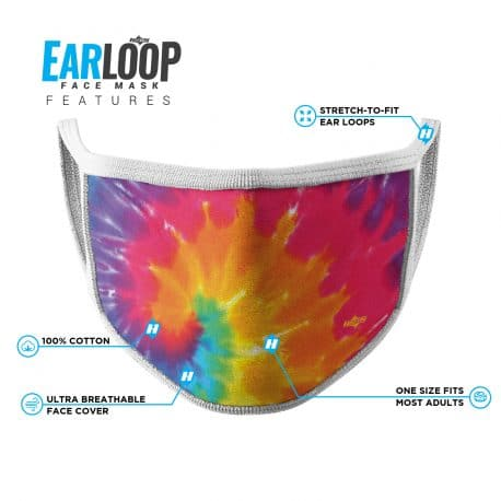 image of an ear loop face mask with tie a dye pattern in colors of purple, pink, orange, yellow and blue with list of product features