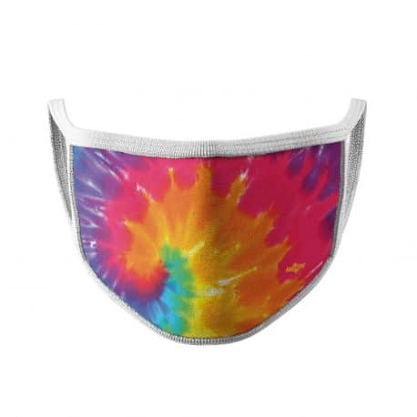 image of an ear loop face mask with a tie dye pattern in colors of purple, pink, orange, yellow and blue