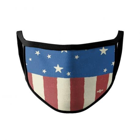 image of an ear loop face mask with red and white stripes, blue background and white stars. Black trim.