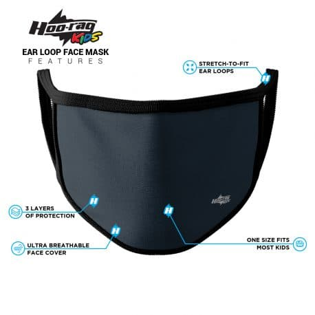 image of an ear loop face mask in a solid navy blue color with black trim. List of product features