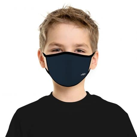 child model wearing an ear loop face mask in solid navy blue with black trim
