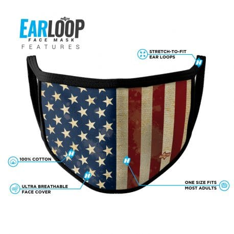 image of an american flag ear loop face mask with list of product features