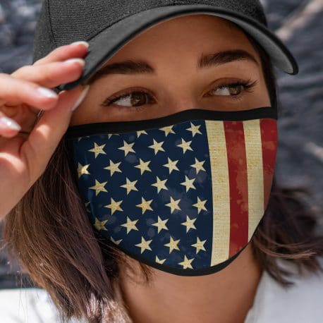 model wearing an american flag ear loop face mask