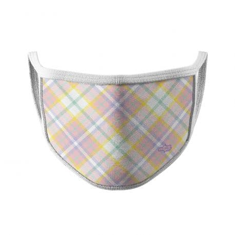 image of an ear loop face mask with pink, purple and yellow lines in a plain design. White trim.