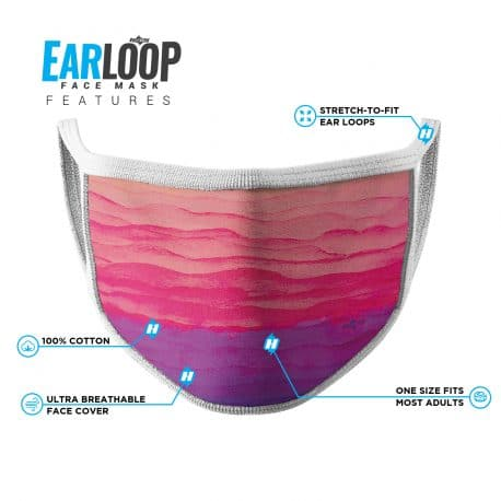 image of an ear loop face mask featuring a pink and purple sunrise with white trim and list of product features