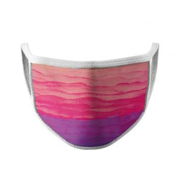 image of an ear loop face mask featuring a pink and purple sunrise with white trim