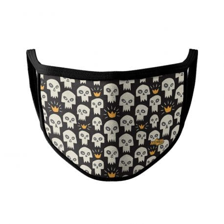 image of an ear loop face mask with white skulls and gold crowns. Black trim.