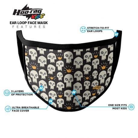 image of an ear loop face mask with white skulls and gold crowns. Black trim. List of product features