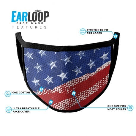 image on an american flag ear loop face mask with black trim and list of product features