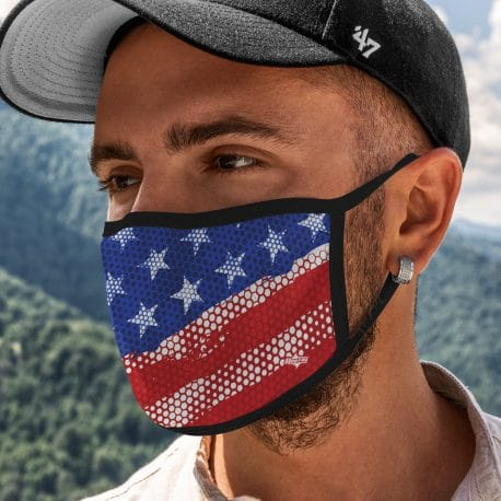 model wearing an american flag ear loop face mask with black trim
