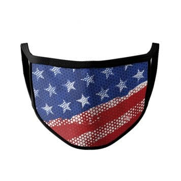 image on an american flag ear loop face mask with black trim