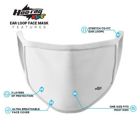 image of an ear loop face mask with a solid white color and white trim. List of product features.