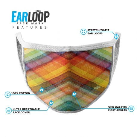 image of an ear loop face mask in multi color overlapping lines with white trim and list of product features