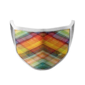image of an ear loop face mask in multi color overlapping lines with white trim