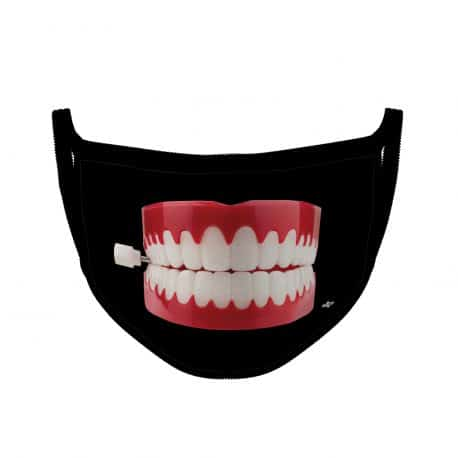 image of an ear loop face mask featuring a chatterbox on black background