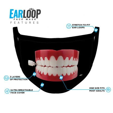 image of an ear loop face mask featuring a chatterbox on black background and list of product features