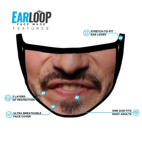 image of an ear loop face mask with a smile design and list of product features