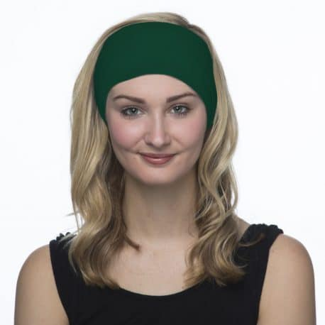 female model in a green headband