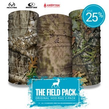 image of three tubular bandanas featuring different camo designs with text showing 25% off