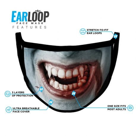image of an ear loop face mask with a vampire smile design and list of product features