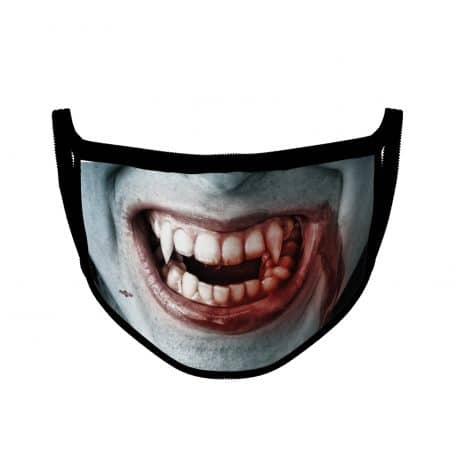 image of an an ear loop face mask with a vampire smile design